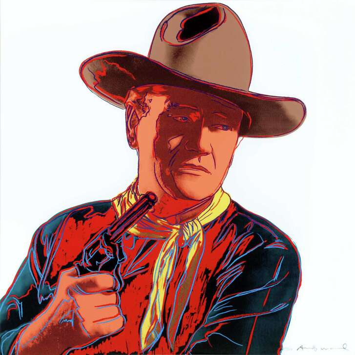 """Andy Warhol's screenprint """"John Wayne,"""" from his 10-image """"Cowboys and Indians"""" series, is on display at the Briscoe Western Art Museum."""