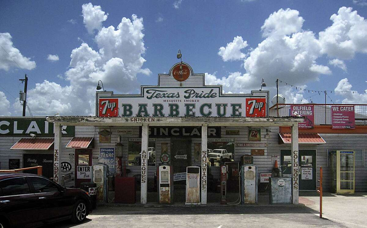Texas Pride Barbecue on East Loop 1604 South in Adkins, east of San Antonio, is modeled after an old gas station.