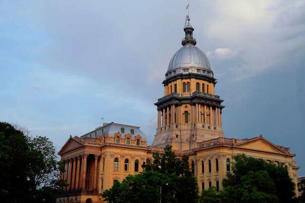The Illinois State Capitol is seen during sunset in Springfield. (AP Photo/Seth Perlman)