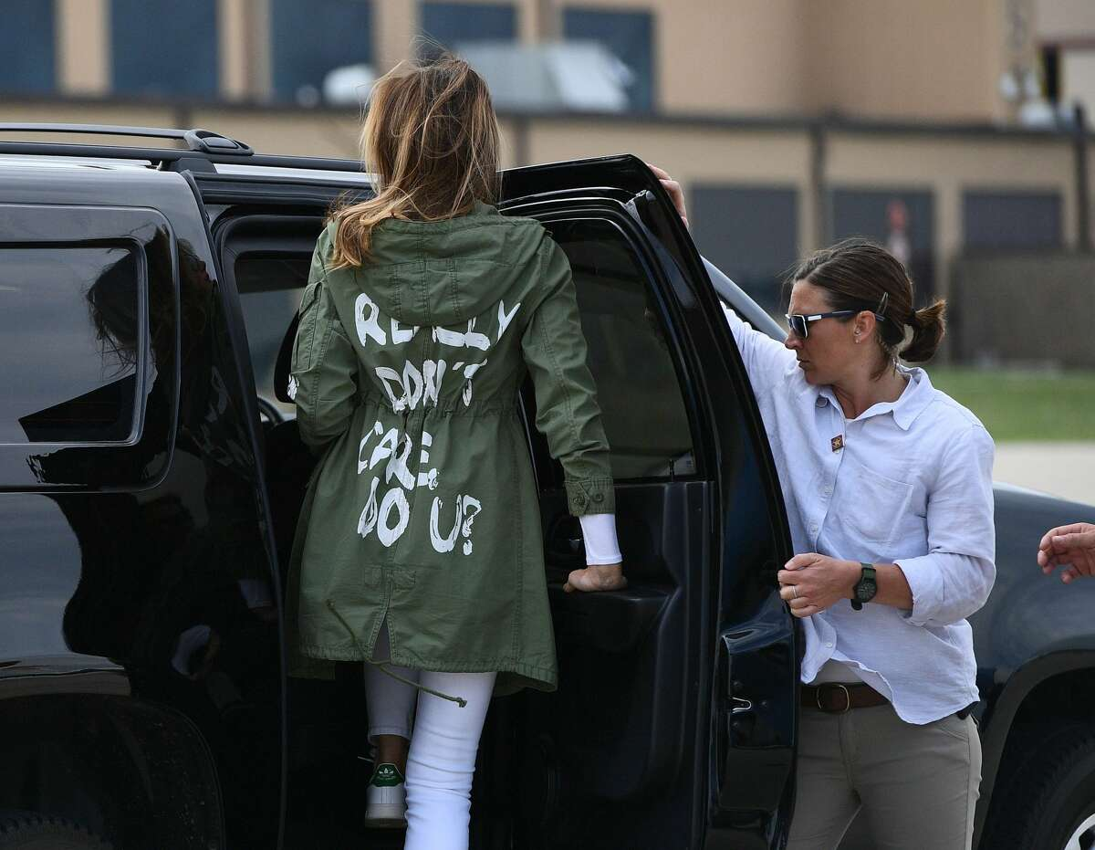 Melania Trump departs Andrews Air Rorce Base in Maryland June 21, 2018 wearing a jacket emblazoned with the words
