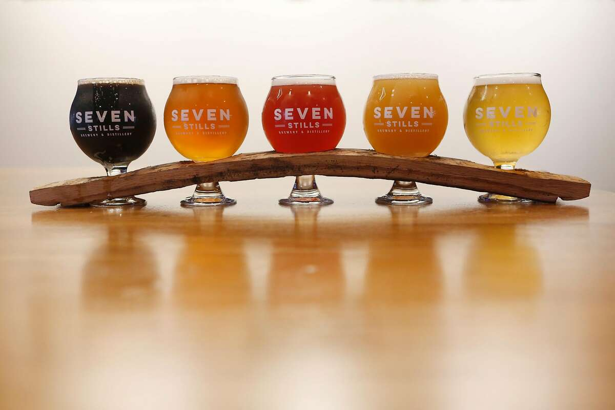 A beer flight featured in Seven Stills Nob Hill bar located inside the Stanford Court Hotel on Thursday, June 21, 2018 in San Francisco, Calif.