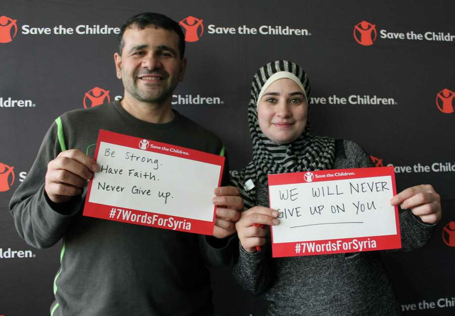 "Syrian refugees Sleman and Mariam Monsour at Save the Children's ""Solidarity with Syria"" event, March 14, 2018, in Fairfield, Conn. Photo: Justin Papp / Hearst Connecticut Media / Fairfield Citizen"