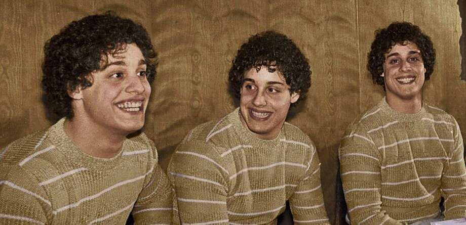 Eddy Galland, David Kellman and Bobby Shafran, identical triplets who were separated at birth and reunited at age 19. Photo: NEON
