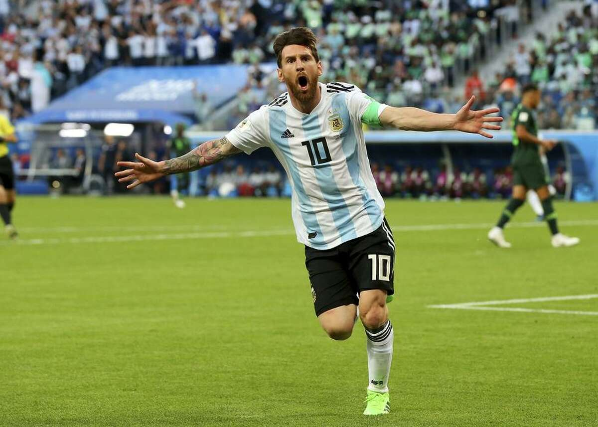 Lionel Messi of Argentina celebrates after scoring his team's first goal of the 2018 World Cup on a perfectly placed shot.