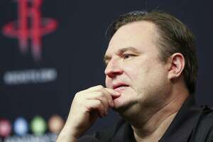 Houston Rockets general manager Daryl Morey reacts as he speaks at an end of the season press conference at the Toyota Center Wednesday, May 30, 2018 in Houston. (Michael Ciaglo / Houston Chronicle)