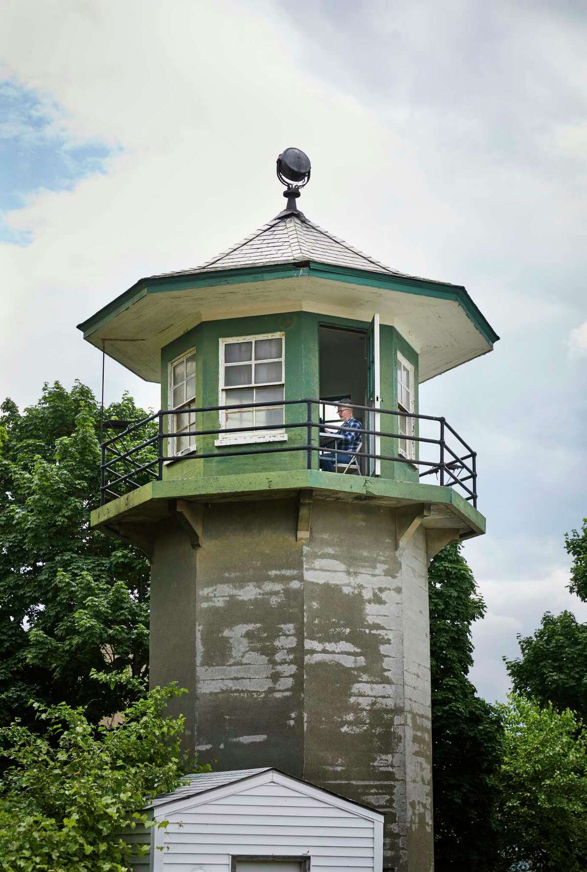 Tim Youd retyping John Cheever's Falconer in a decommissioned guard tower at Sing Sing Prison in Ossining, N.Y. (Provided photo)