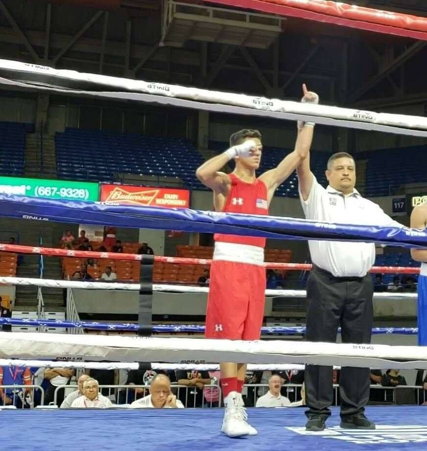 Emilio Garcia of Baby Joey's Boxing Club won by unanimous decision against Juan Davila (Philadelphia) in the 123-pound Youth Male division. Photo: Courtesy Of Baby Joey's Boxing Club