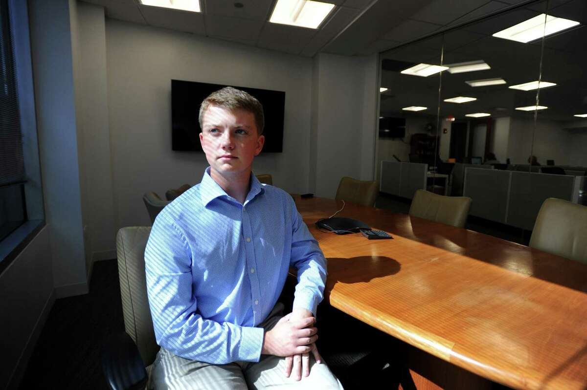 Ryan Edkins, a rising senior at AITE, poses for a photo inside the Advocate office on Washington Blvd. in downtown Stamford, Conn. on Monday, June 25, 2018. Edkins is a top finalist in the New York NFTE Regional Youth Entrepreneurship Challenge after winning the regional challenge with Moist-True, a moisture detection system that links to your phone and tells you how much water to put in your plants.