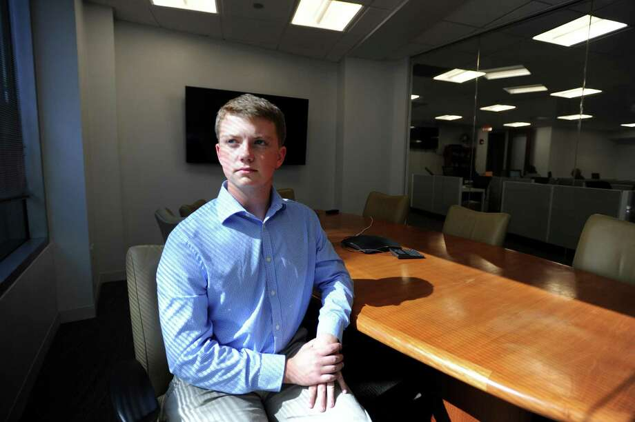 Ryan Edkins, a rising senior at AITE, poses for a photo inside the Advocate office on Washington Blvd. in downtown Stamford, Conn. on Monday, June 25, 2018. Edkins is a top finalist in the New York NFTE Regional Youth Entrepreneurship Challenge after winning the regional challenge with Moist-True, a moisture detection system that links to your phone and tells you how much water to put in your plants. Photo: Michael Cummo / Hearst Connecticut Media / Stamford Advocate