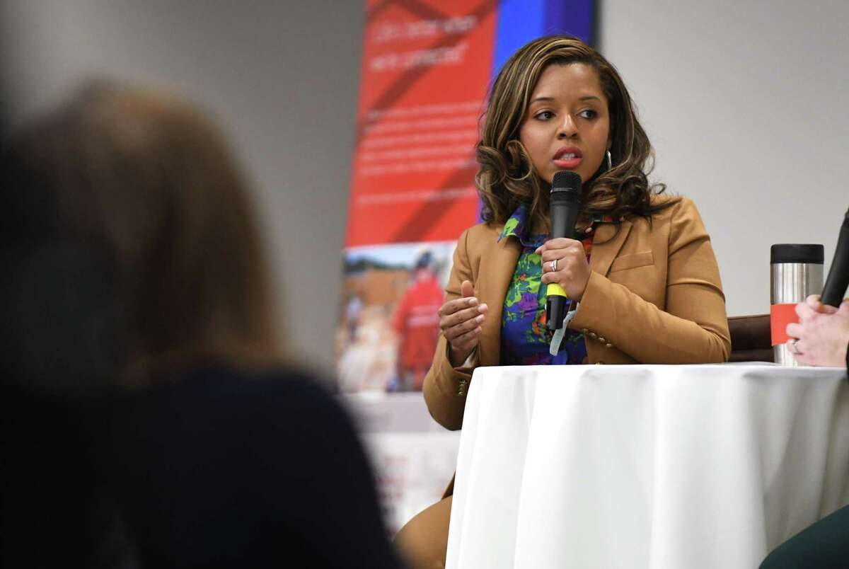 Albany Common Council member Dorcey Applyrs speaks during a Women@Work Changemakers breakfast event, presented by Bank of America, on Wednesday, April 11, 2018, at the Hearst Media Center in Colonie N.Y. (Will Waldron/Times Union)