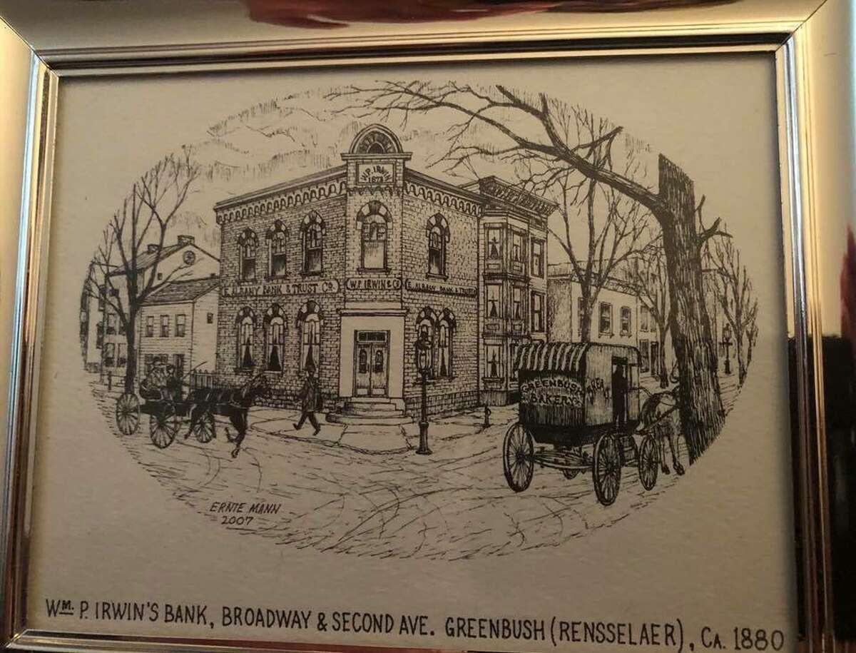 The sketch of a bank that Barb Finlan kept on her desk until retirement. (Provided)