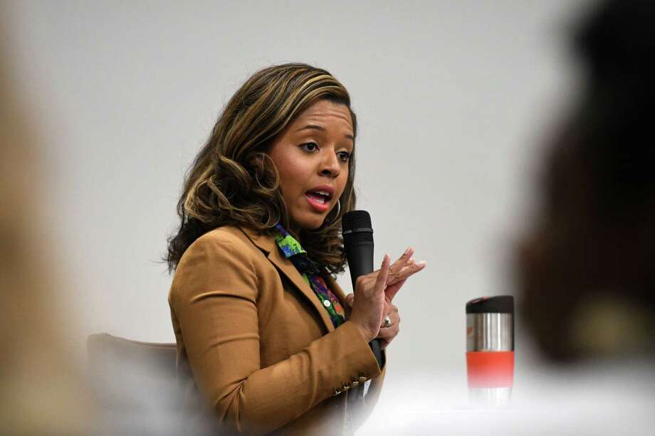 Albany Common Council member Dorcey Applyrs speaks during a Women@Work Changemakers breakfast event, presented by Bank of America, on Wednesday, April 11, 2018, at the Hearst Media Center in Colonie N.Y. (Will Waldron/Times Union) Photo: Will Waldron / 20043435A
