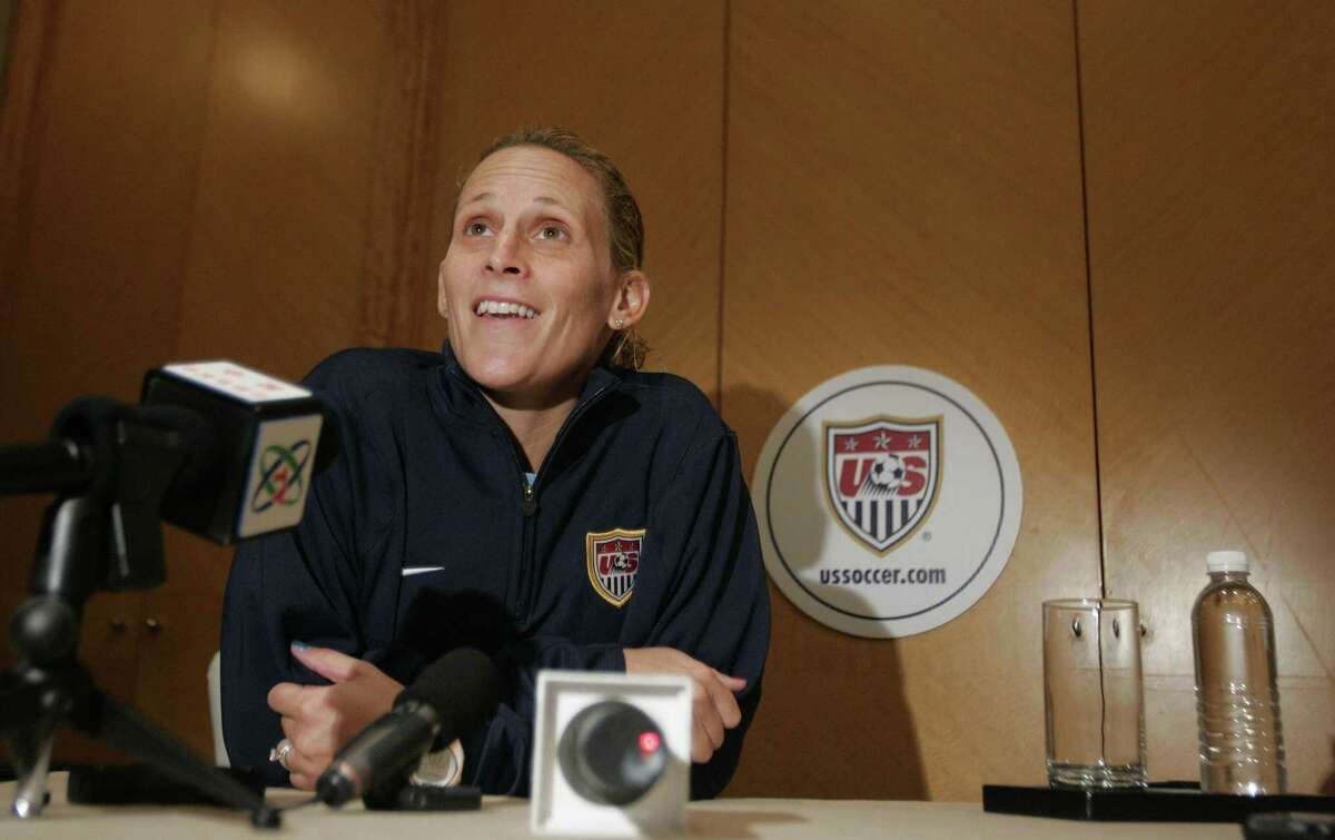 United States soccer team captain Kristine Lilly answers questions at a press conference Monday, Sept. 17, 2007 in Shanghai, China. The U.S. will play Nigeria on Tuesday in its last Group B soccer match in the 2007 FIFA Women's World Cup soccer tournament.(AP Photo/Julie Jacobson)