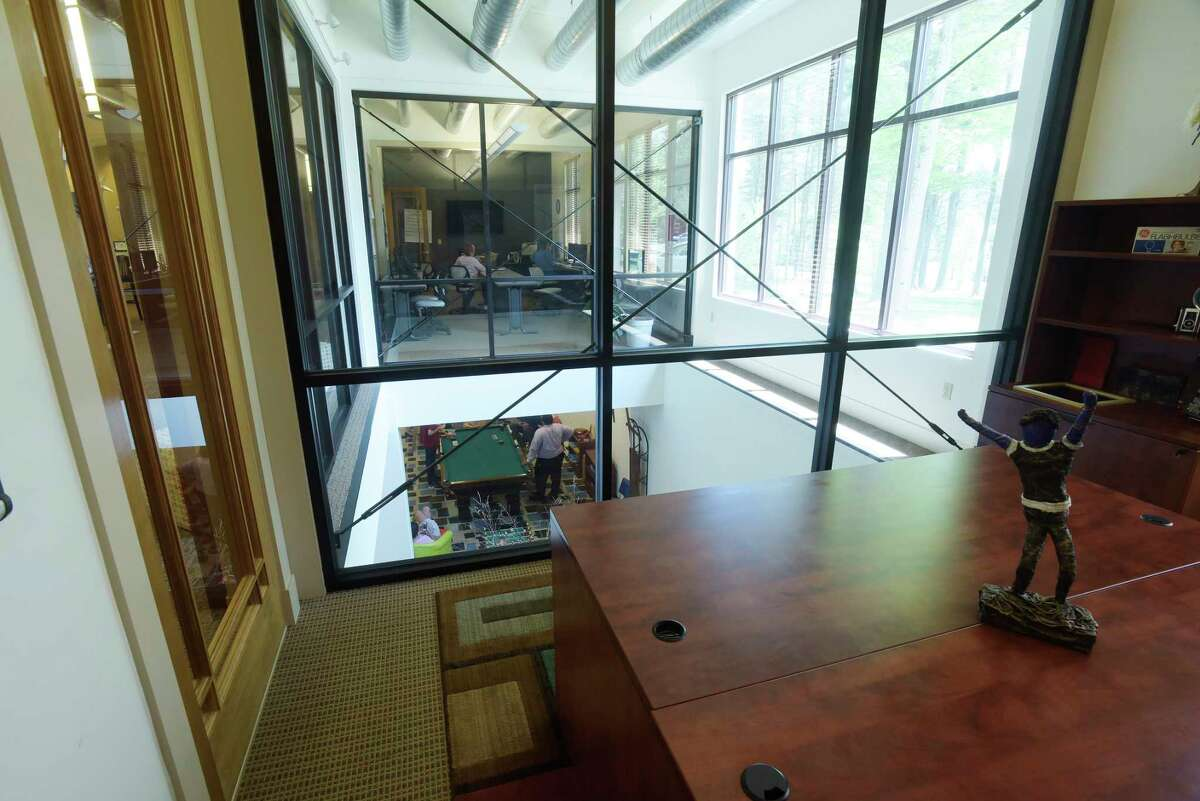 A view looking out of one of the offices and into other work areas at Transitions on Tuesday, May 29, 2018, in Gloversville, N.Y. (Paul Buckowski/Times Union)