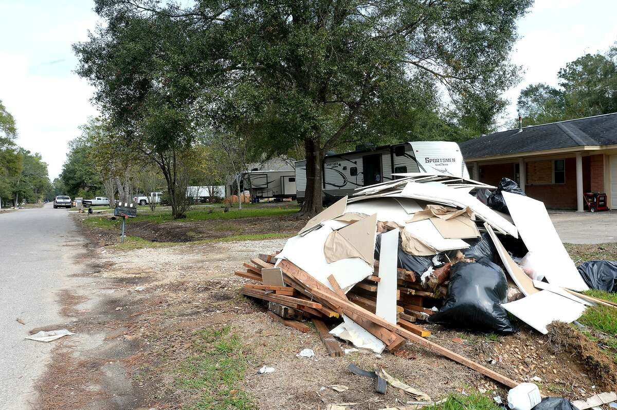 While the post-Harvey clean-up piles have diminished in number and scope, often they have been replaced simply by smaller piles, broken bits of debris, and the ashy remains of gutted interiors. In hard hit regions, like Rose Hill Acres, the Rolling Hills subdivision still bears the lingering smell of mold as residents continue the process of rebuilding, many taking temporary shelter in campers parked outside their homes. Photo taken Thursday, November 2, 2017 Kim Brent/The Enterprise