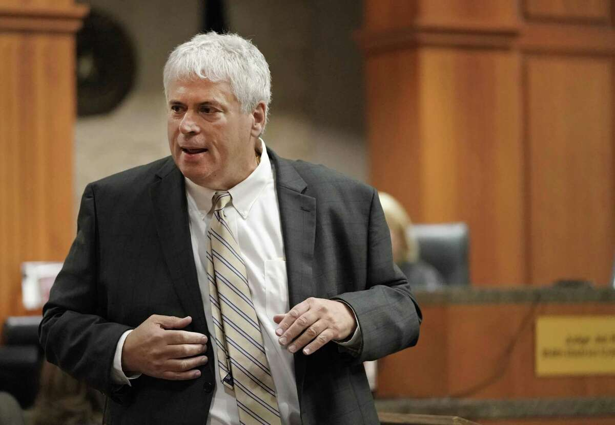 Defense attorney Allen Tanner gives an opening statement during the capital murder trial of Ali Mahwood-Awad Irsan is shown in court Monday, June 25, 2018. Irsan was charged with capital murder because his alleged crime involved multiple victims ?- his daughter?'s best friend, Gelareh Bagherzadeh, an Iranian medical student and activist, and his daughter?'s husband, Coty Beavers, 28. Both slayings, authorities said, were driven by the anger of Irsan, a conservative Muslim, over his daughter Nesreen?'s decision to marry Beavers, a Christian from Houston. ( Melissa Phillip / Houston Chronicle )