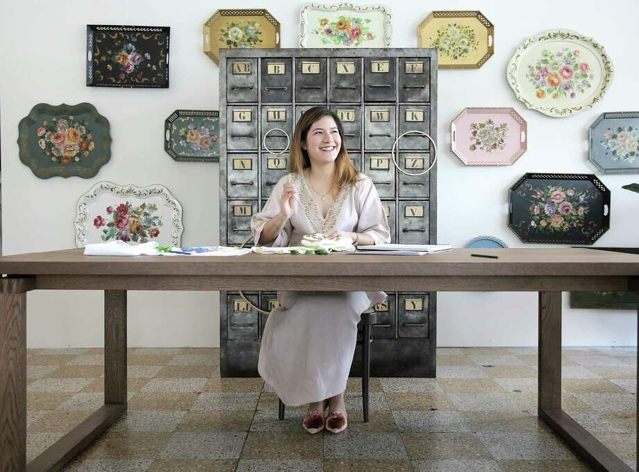 Hibiscus Linens founder, Mariana Barran Goodall, has opened a Midtown showroom that features hand-embroidered fine linens. Photo: Elizabeth Conley, Chronicle / ©2018 Houston Chronicle