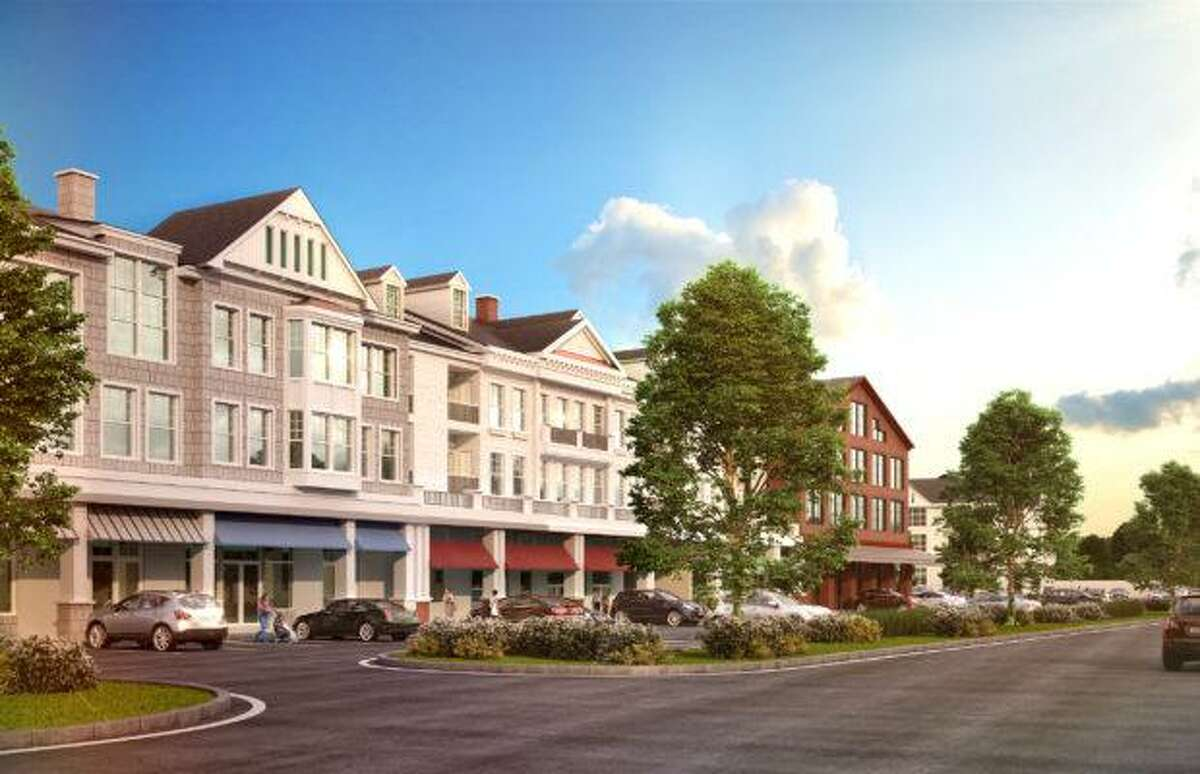 A rendering of the proposed Wilton Heights development, a residential-retail development, that would be built on 7.56 acres of land at the Crossways Plaza, 300 Danbury Road, and on adjacent properties on Whitewood Lane.