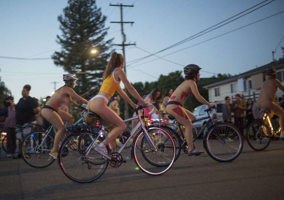 "PORTLAND, OR - JUNE 23: (EDITORS NOTE: Image contains nudity.) Cyclists take part in the annual ""World Naked Bike Ride"" on June 23, 2018 in Portland, Oregon. Thousands of people took part in the event meant to highlight positive body image and to encourage cycling as an oil-free means to transportation. (Photo by Natalie Behring/Getty Images) Photo: Natalie Behring/Getty Images"