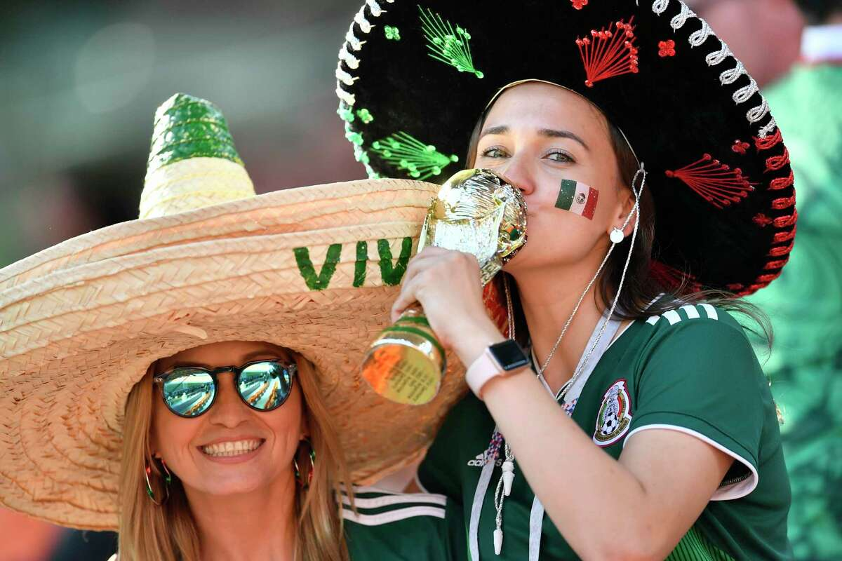 Mexico fans wait for the start of the group F match between Mexico and Sweden, at the 2018 soccer World Cup in the Yekaterinburg Arena in Yekaterinburg , Russia, Wednesday, June 27, 2018. (AP Photo/Martin Meissner)