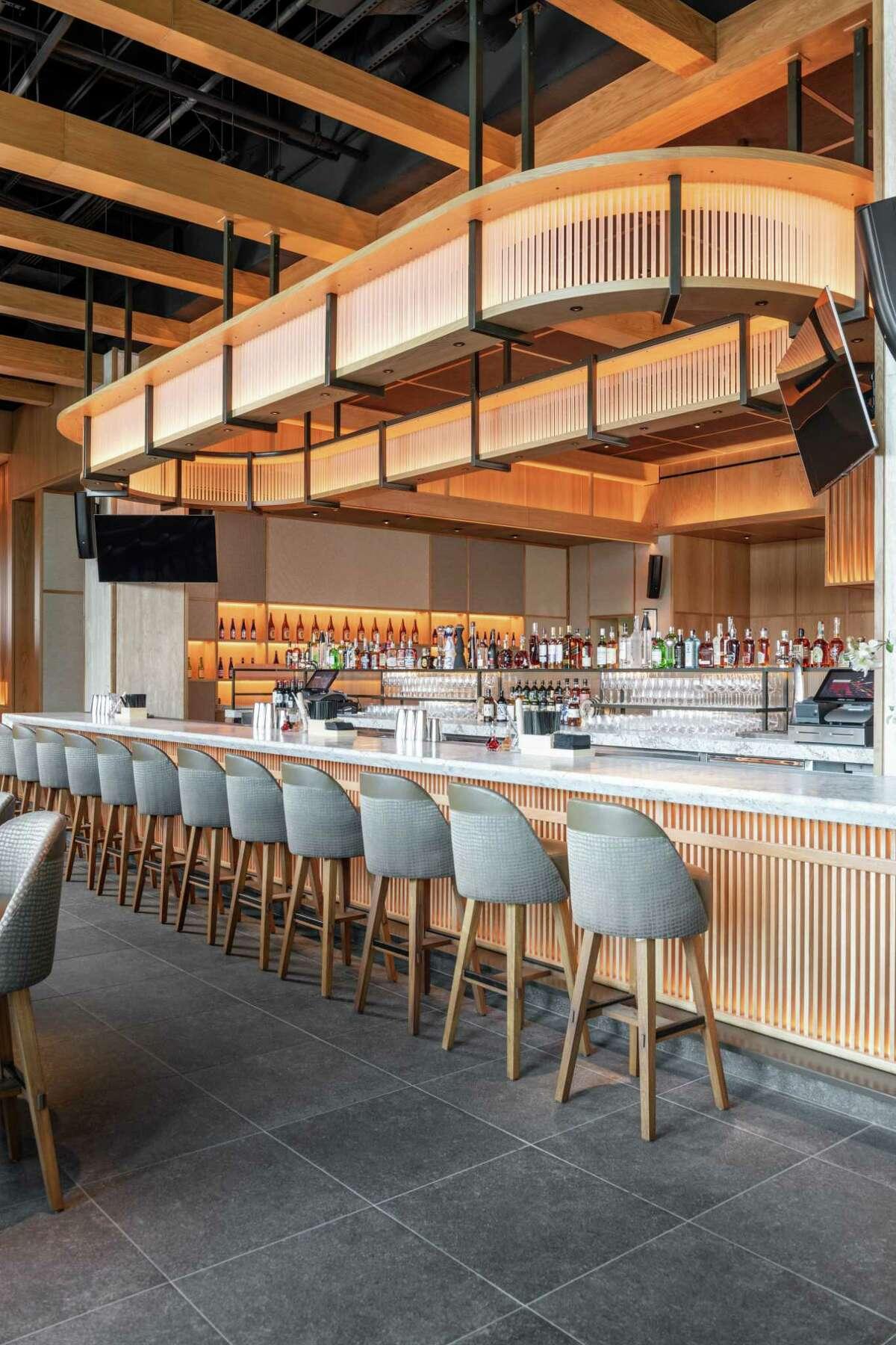 Detail of main bar at Nobu Houston at the Galleria.