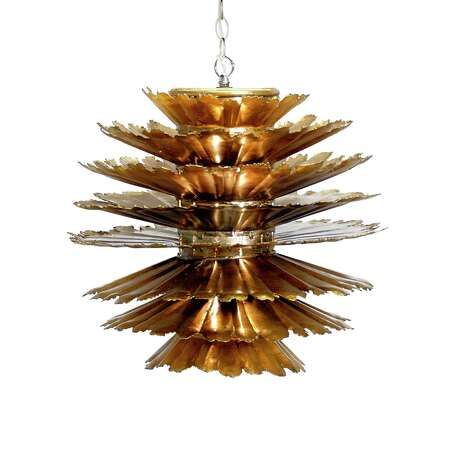 Layers of iron covered in champagne silver leaf create this Worlds Away pendant light that could also pass for art. It's just 18 inches long and wide, so buy a pair or a trio to light up your space. $872.50; High Fashion Home or wayfair.com
