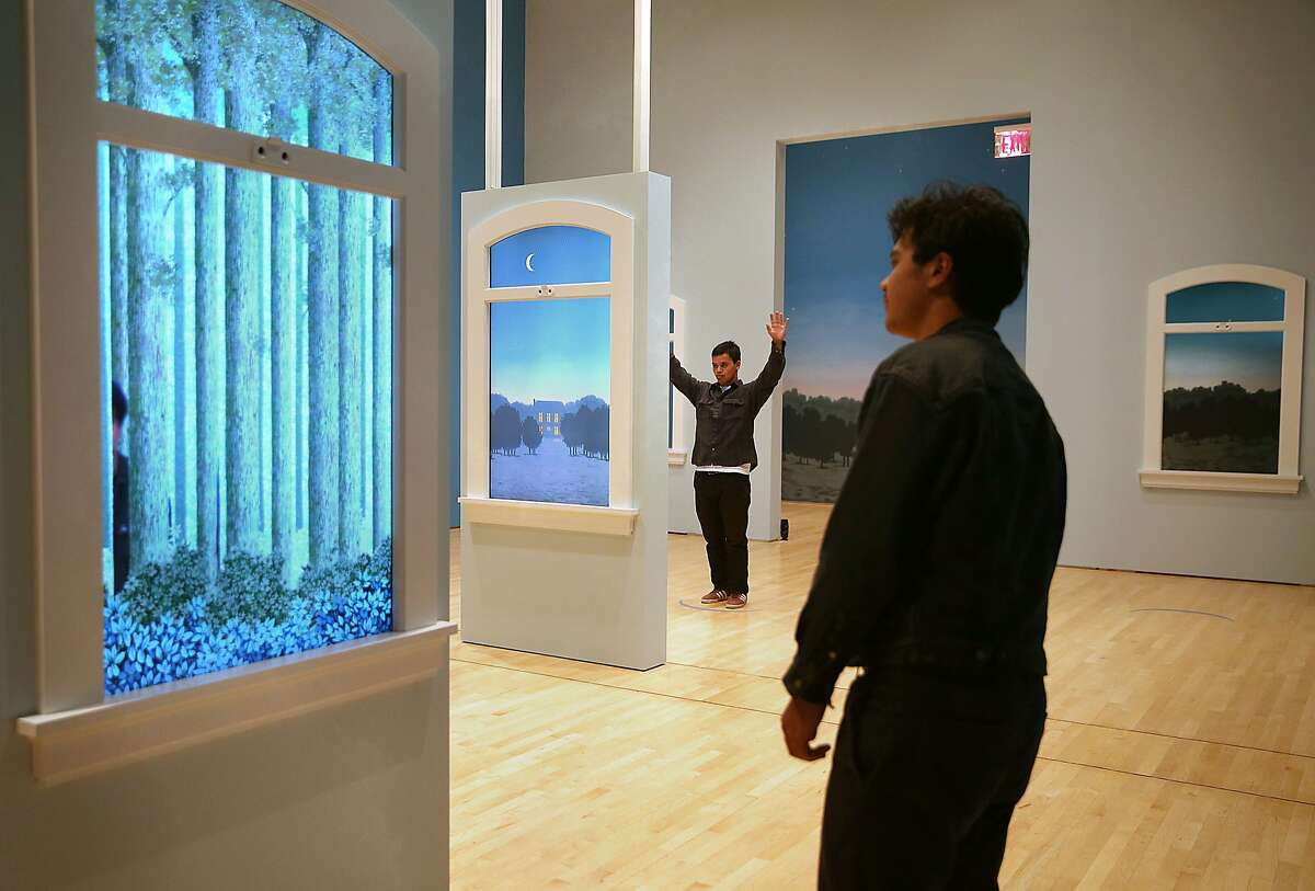 Interpretive gallery at the Magritte show at SFMOMA with one of the windows seen on Wednesday, May 30, 2018 in San Francisco, Calif.