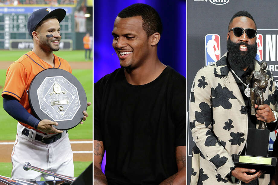 Oddsmakers have given Texans QB Deshaun Watson (center) has a puncher's chance to join the Astros' Jose Altuve and James Harden as MVP winners. Photo: Houston Chronicle File And Wire Services