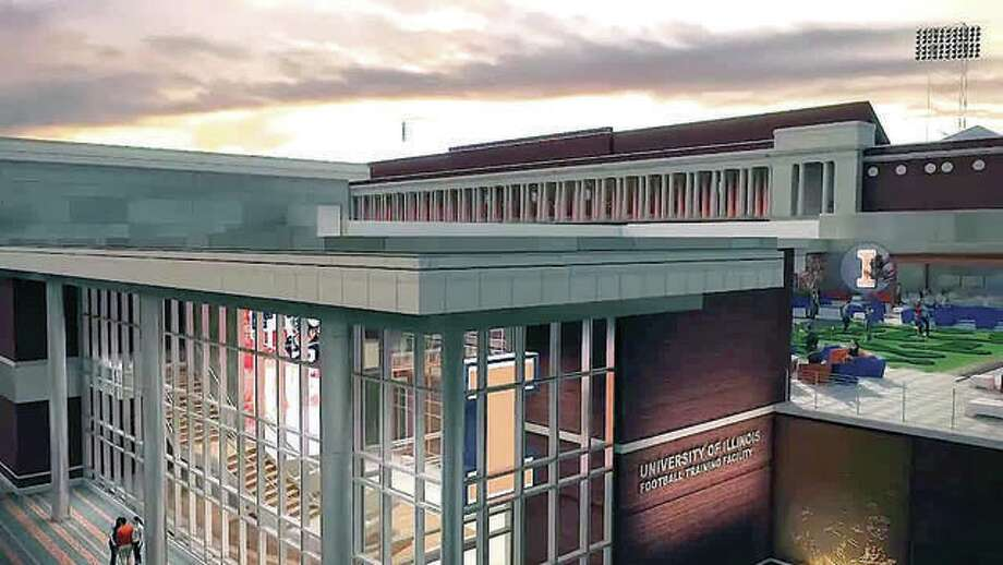The Illinois football Performance Center has received an anonymous $1 million gift. The center will be a 107,650-square foot football facility adjoining the south end of the Irwin Indoor Practice Facility. The facility will feature new and expanded strength and conditioning and sports medicine space, coaches' offices, position meeting rooms, player development areas, locker rooms, and other areas for recruiting and prospect hosting. An architect's rendering is shown above. Photo:       Illini Athletics