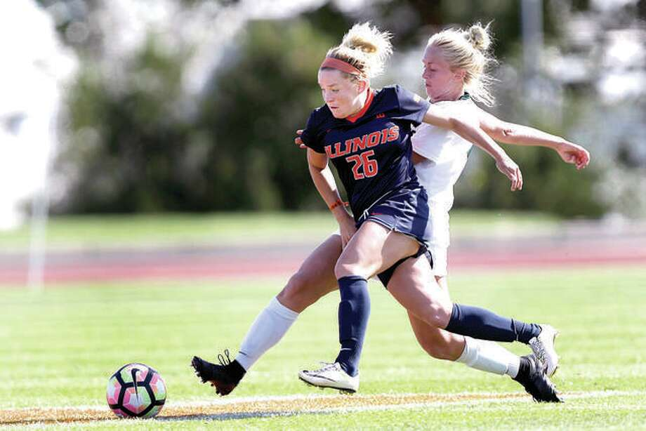 Katie Murray of Illinois battles for the ball against an opponent last season. Murray and her teammates will play host to SIUE Sept. 2 in Champaign. The Illini's schedule was released Monday. Photo:       Illini Athletics