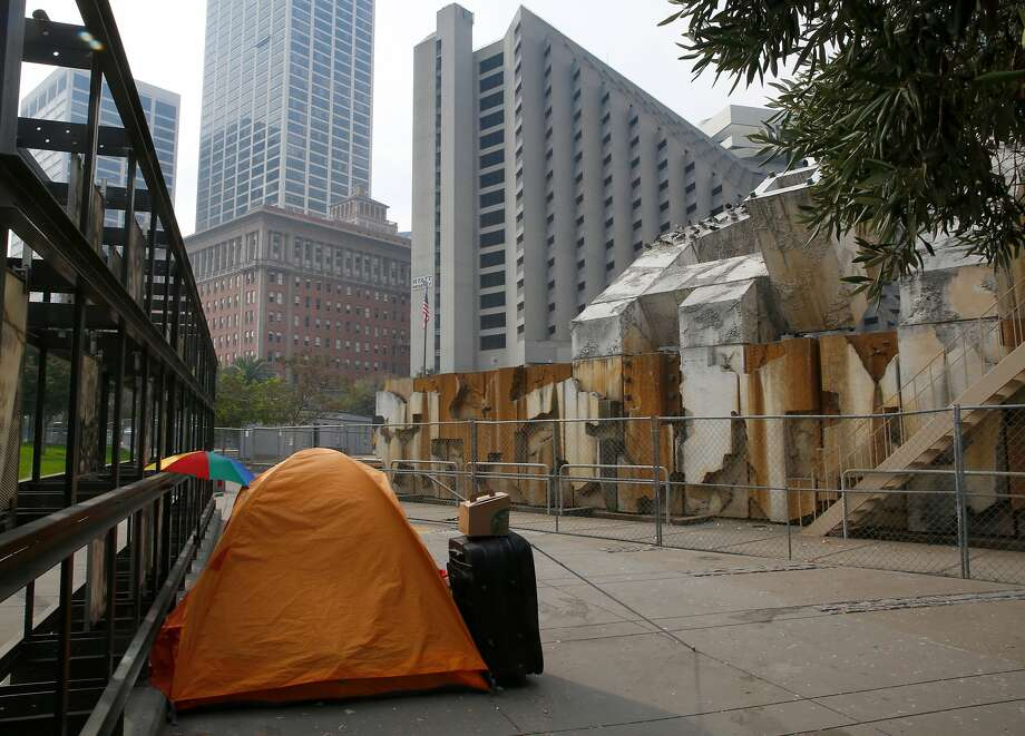 View of Justin Herman Plaza with a homeless tent on Tuesday, October 17, 2017, in San Francisco, Calif. Photo: Liz Hafalia / The Chronicle