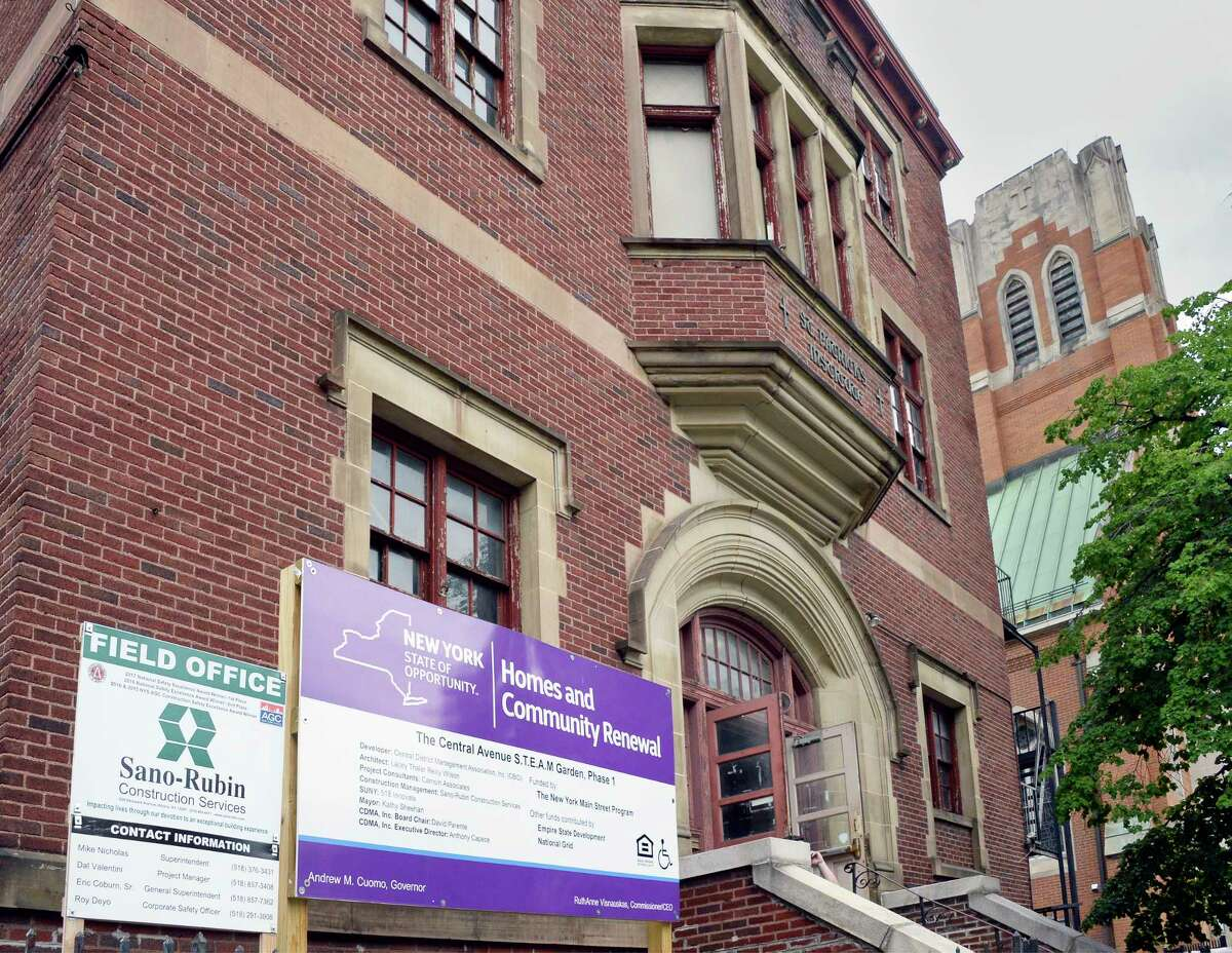The former St. Patrick's School on Central Avenue is to be converted into a STEAM incubator and a ground-breaking ceremony was held Wednesday June 27, 2018 in Albany, NY. When complete, the multi-functional space will consist of a blend of educational classrooms, a historic restorations laboratory, business incubation, and co-work spaces. (John Carl D'Annibale/Times Union)