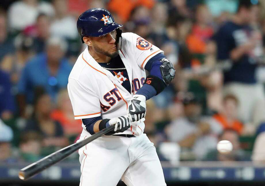 Houston Astros first baseman Yuli Gurriel (10) flies out in the first inning against the Toronto Blue Jays at Minute Maid Park on Wednesday, June 27, 2018 in Houston. Photo: Elizabeth Conley, Houston Chronicle / ©2018 Houston Chronicle