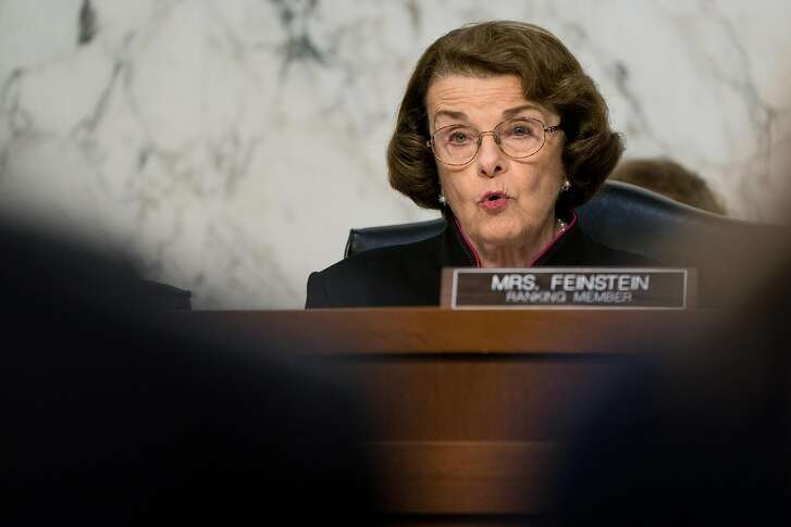 Sen. Dianne Feinstein (D-Calif.) at a hearing on Capitol Hill in Washington, June 18, 2018. The unlikely duo of Feinstein and Sen. Ted Cruz (R-Texas) � ideological and stylistic opposites who are running for re-election in very different border states � are leading the Senate�s effort to address the crisis in family separation at the border. (Erin Schaff/The New York Times)