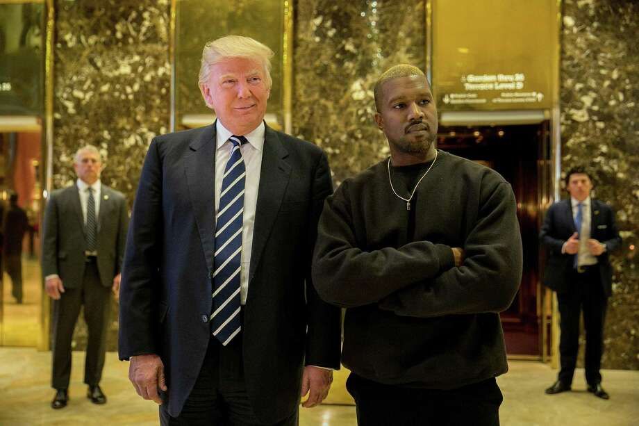 President-elect Donald Trump and Kanye West on Dec. 13, 2016 in the lobby of Trump Tower in Manhattan. Photo: SAM HODGSON, STR / NYT / NYTNS