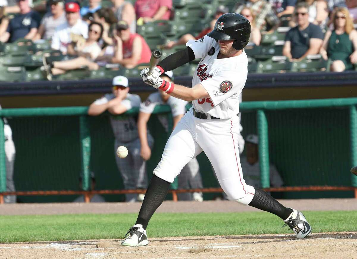 Tri-City ValleyCats Seth Beer (34) bats against the Vermont Lake Monsters during a minor league baseball game Sunday, June 17, 2018, in Troy, N.Y.
