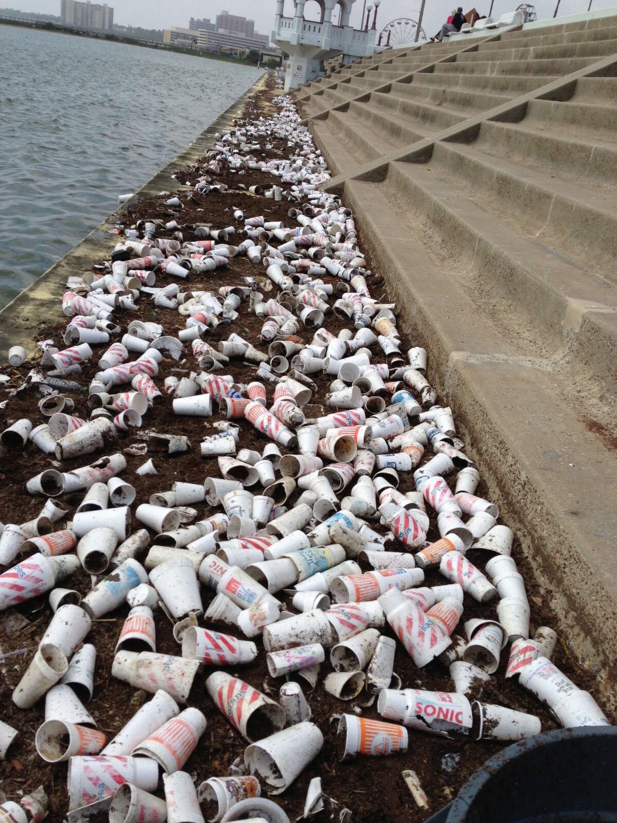 Styrofoam cups litter areas along Texas' coasts and waterways.