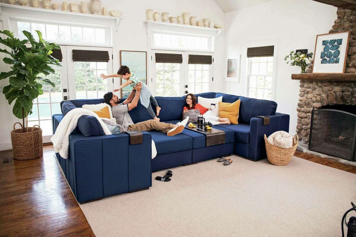 Stamford-based furniture retailer Lovesac, which makes Sactional couches such as this one, held its initial public offering on Wednesday, June 27, 2018.