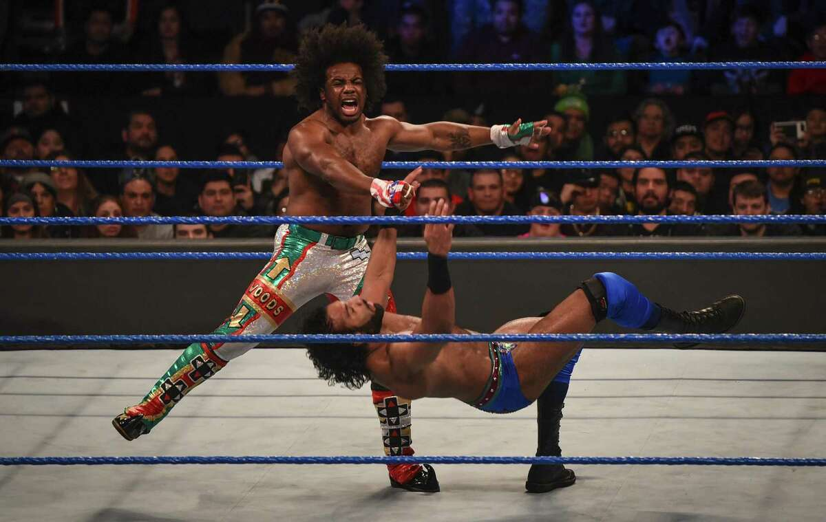 Xavier Woods and Jinder Mahal participate in a WWE Smackdown wrestling match on Jan. 16, 2018, at the Laredo Energy Arena.