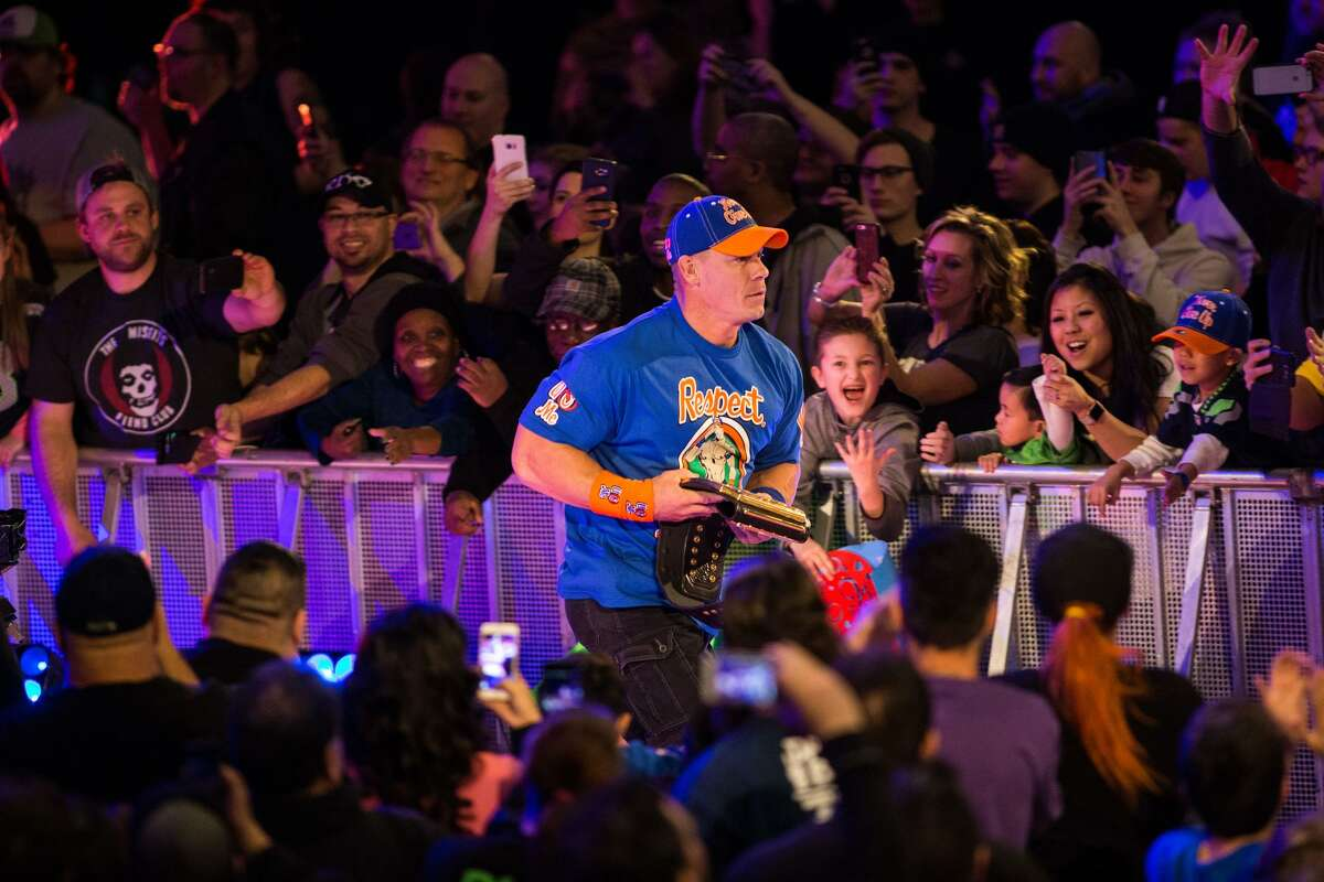 John Cena takes to the floor during WWE Smackdown Live at KeyArena on Tuesday, Feb. 7, 2017.