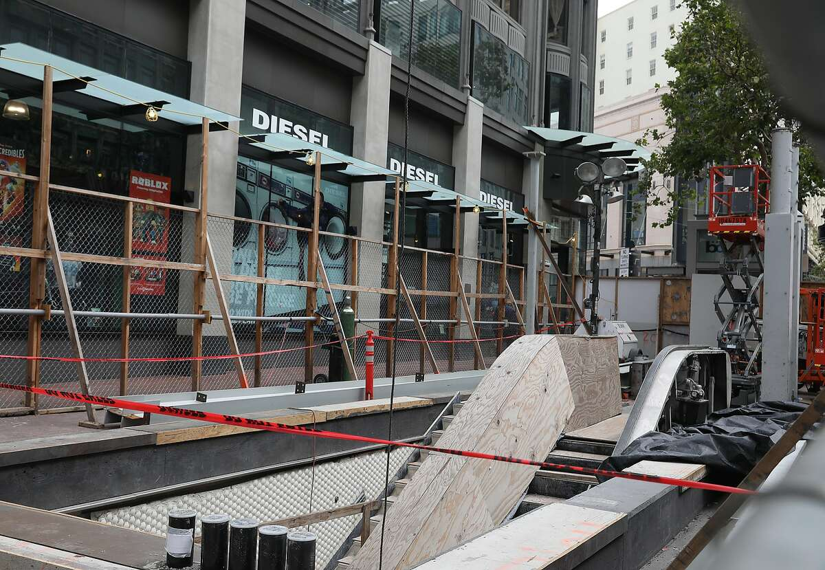 View of the Bart canopy project which is located on Market at Ellis streets on Wednesday, June 27, 2018 in San Francisco, Calif.
