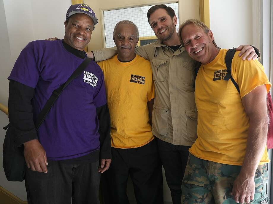 Left to right--Team supervisor Darryl Cage, office liaison Gary Sparks, director Brandon Davis, and team member Teo Yourchek at the San Francisco branch of Downtown Streets Team seen on Wednesday, June 20, 2018 in San Francisco, Calif. Photo: Liz Hafalia / The Chronicle