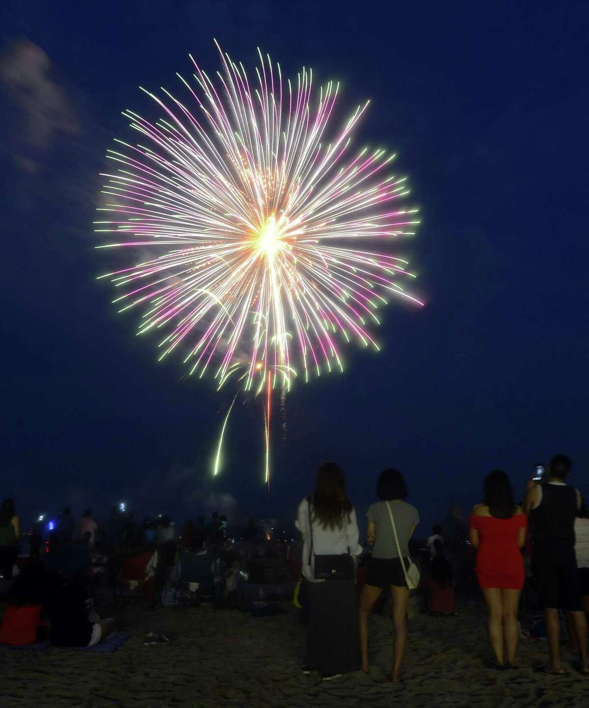 A fireworks spectacular lights up the skies over Cummings Park and Beach June 30, 2017 in Stamford, Connecticut.