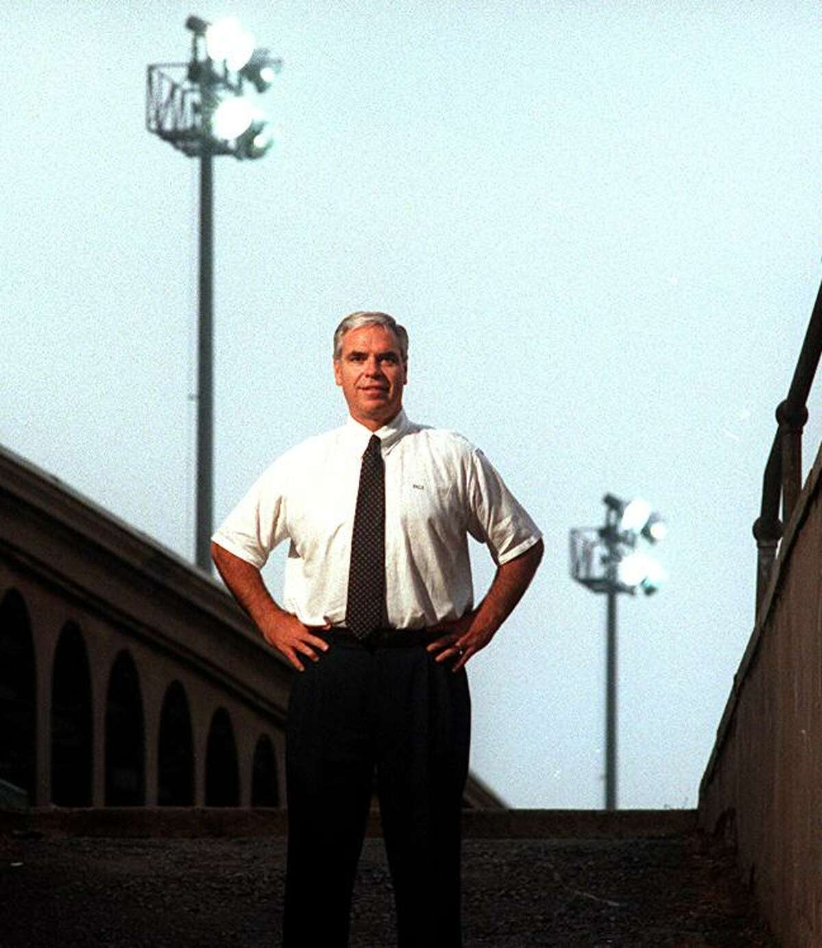 A portrait of Yale University Athletic Director Thomas Beckett in September 1994 made by New Haven Register Staff Photographer Peter Hvizdak at the underground Route 34 entrance to the Yale football practice field and the Yale baseball field upon Beckett's arrival at Yale from Stanford University as the athletic director.