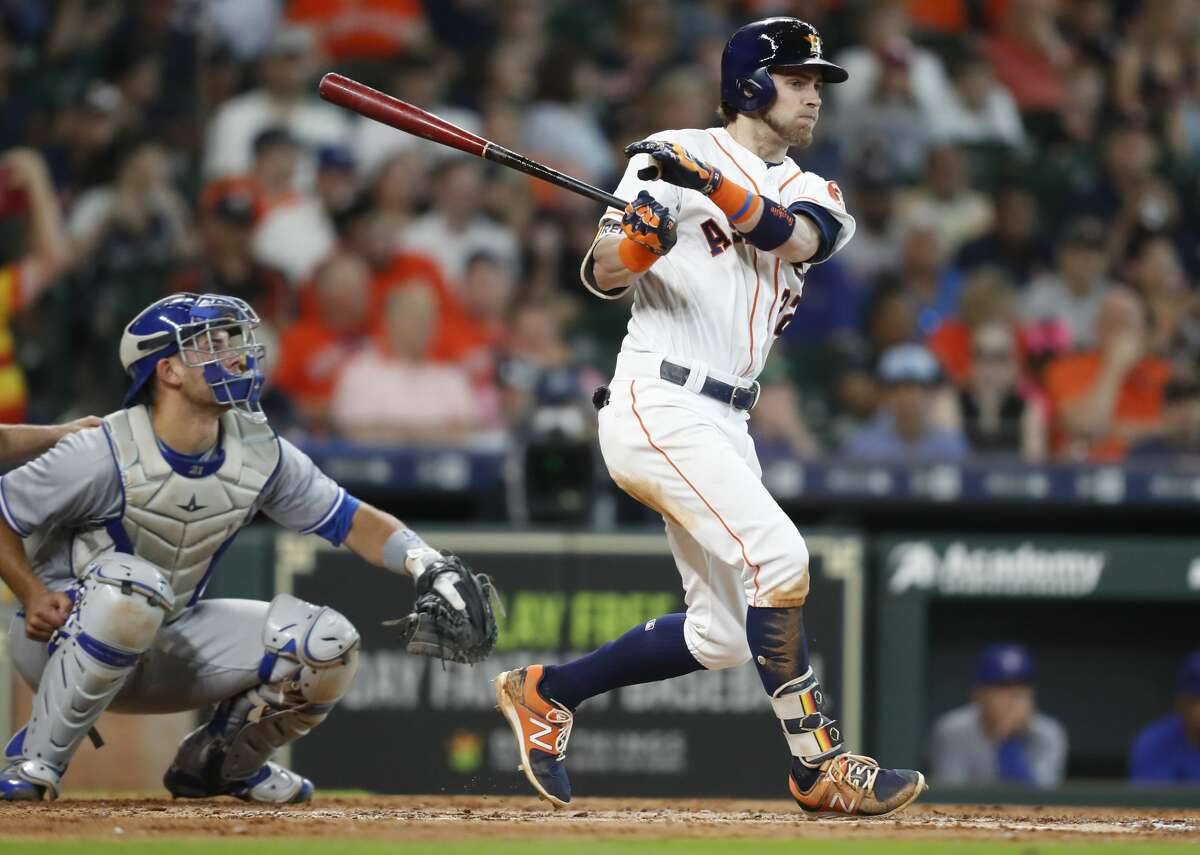 Houston Astros right fielder Josh Reddick (22) after hitting a lead-off single in the bottom of the fourth inning against the Toronto Blue Jays at Minute Maid Park on Wednesday, June 27, 2018 in Houston. Astros won the game 7-6 with a two-run walk off home run. (Elizabeth Conley/Houston Chronicle)