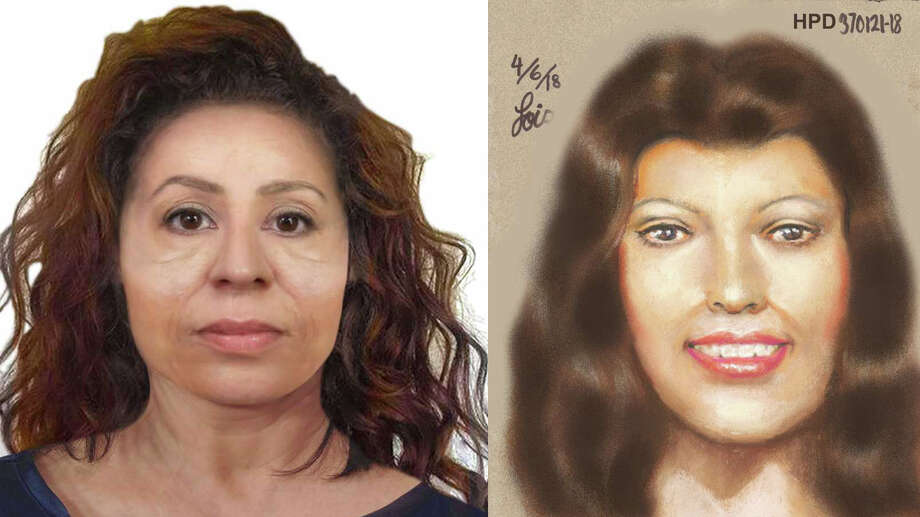 A side-by-side comparison of a reconstruction provided by Louisiana State University FACES Lab, left, and a sketch provided by the Harris County Institute of Forensic Sciences of two victims whose severed heads were both found in March near lakes 150 miles apart in Texas and Louisiana. Photo: Courtesy