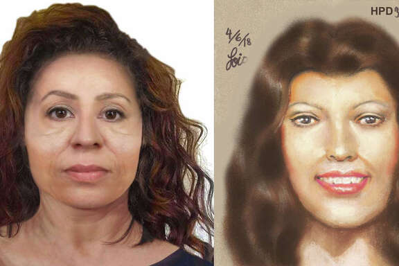 A side-by-side comparison of a reconstruction provided by Louisiana State University FACES Lab, left, and a sketch provided by the Harris County Institute of Forensic Sciences of two victims whose severed heads were both found in March near lakes 150 miles apart in Texas and Louisiana.