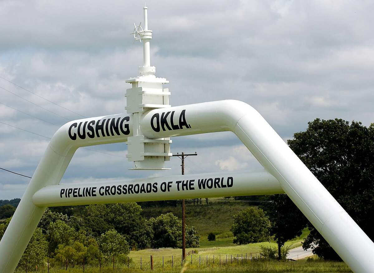 In this Sept. 15, 2005 file photo, the marker that welcomes commuters to Cushing, Okla. is seen.