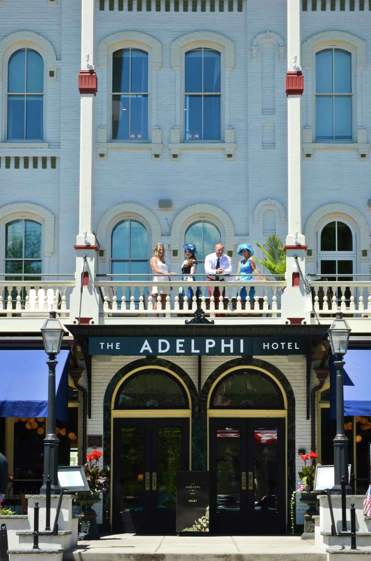Models pose during a fashion shoot at The Adelphi in Saratoga Springs, NY, on Tuesday, June 19, 2018. BCI was involved in the reconstruction of the famed hotel. (Photo by Colleen Ingerto / Times Union)