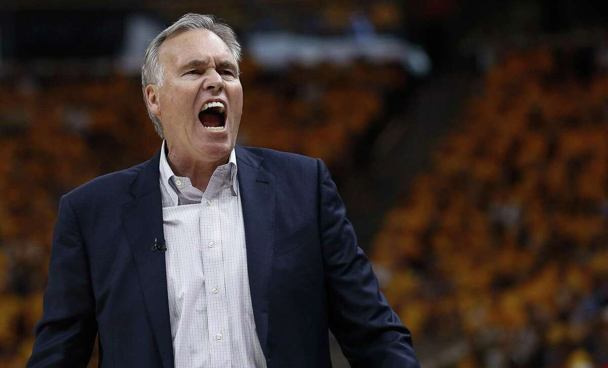 Houston Rockets head coach Mike D'Antoni yells from the bench during the first half of Game 4 of the NBA second-round playoff series against the Utah Jazz at Vivint Smart Home Arena Sunday, May 6, 2018 in Salt Lake City. (Michael Ciaglo / Houston Chronicle)